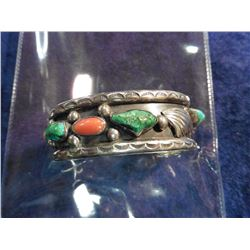 Sterling Silver, Coral and Turquoise Navajo Style Bracelet. Weighs 62.9 grams.