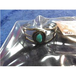 Sterling Silver and Turquoise Navajo Style Bracelet. Weighs 19.9 grams.