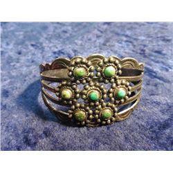 Sterling Silver and Turquoise Zuni Style Bracelet. Weighs 28.7 grams.