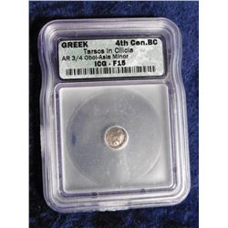 "Greek 4th Cen.BC. Slabbed ""ICG-F15"" ""Tarsos in Cilicia AR 3/4Obol - Asia Minor"". 2,400 year old Silv"