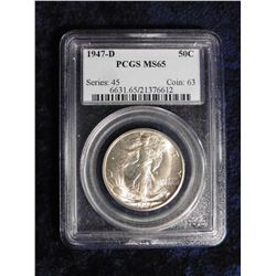 "1947 D Walking Liberty Half Dollar slabbed ""PCGS MS65"" Series:45 Coin: 63. No. 6631.65/21376612."