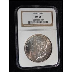 "1900 O Morgan Silver Dollar. NGC slabbed ""MS 64"". Serial no. 1774871-007."