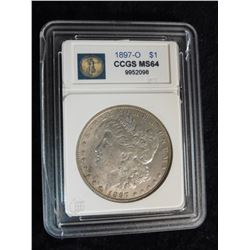 "1897 O Morgan Silver Dollar graded by Cameo Coin Grading Service ""CCGS MS64"" Serial No. 9952098."