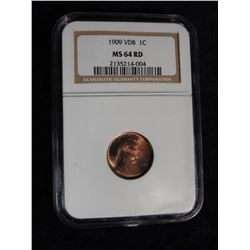 "1909 VDB Lincoln Cent. NGC slabbed ""MS 64 RD"". Serial No. 21352114-004."