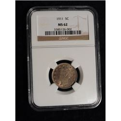 "1911 Liberty Nickel. NGC slabbed ""MS 62""."