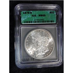"1879 S Morgan Silver Dollar Slabbed ""ICG MS 65"". Serial no. 2779310401."