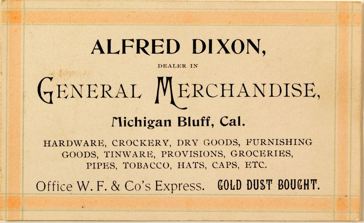 Alfred dixon business card gold dust bought michigan bluff ca image 1 alfred dixon business card gold dust bought michigan reheart Image collections