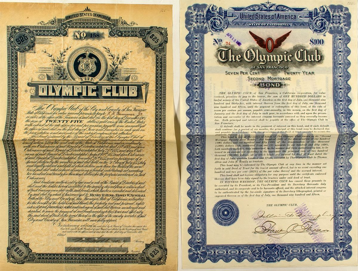 two bonds for the olympic club athletic organization