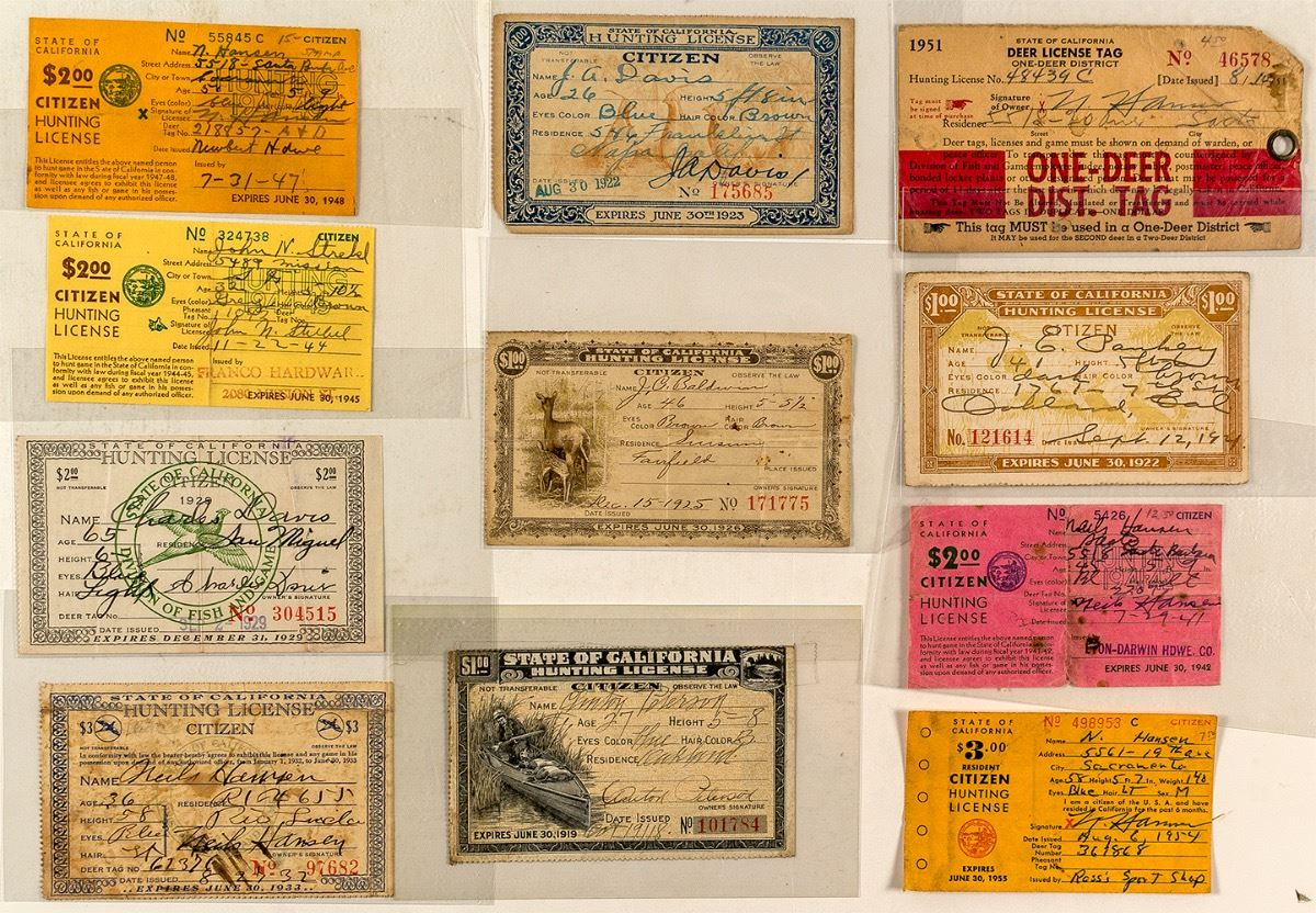 Eleven different california hunting licenses holabird for How much is a fishing license in louisiana