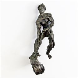 Antique Chinese BRONZE FIGURE of Man Pulling Rope A-2