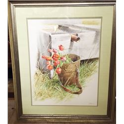 Original Marjorie BRUCE Water Color PAINTING Tulips in Basket