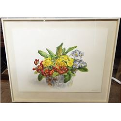 "Original Marjorie BRUCE Water Color PAINTING ""Potpourri"" Flowers in Graniteware"