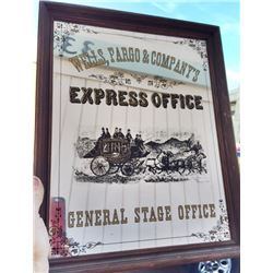 WELLS FARGO Express General Stage Office Mirrored SIGN