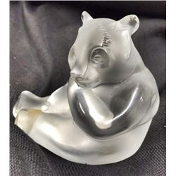 LALIQUE Seated Panda BEAR; Signed