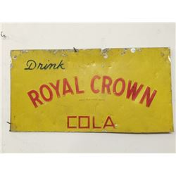 Vintage ROYAL CROWN Cola Tin Sign; Yellow