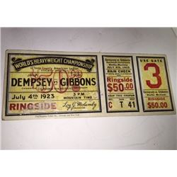 Jack DEMPSEY vs Tom GIBBONS World Heavyweight Championship TICKET