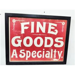 "Vintage SIGN ""Fine Food a Specialty"" Paper"