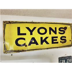 "Antique ""LYONS Cakes"" ENAMEL SIGN"