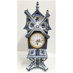 Vintage DELFT Windmill CLOCK Handpainted