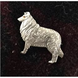 Collie DOG Sterling Pin BROOCH w Gemstone Eye