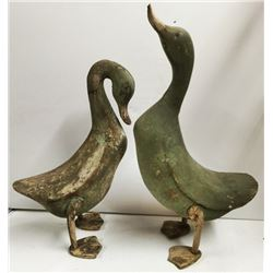 FOLK ART Carved DUCKS (2) Wood