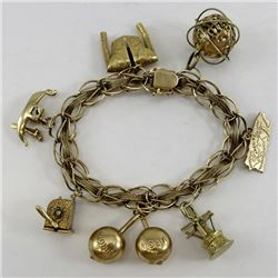 14K Yellow GOLD CHARM BRACELET with 8 Charms 3-D and Moving Parts      B4