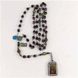 Hand Crafted SILVER ROSARY w Sterling Early 18th c RELIQUARY Silver Framing by J. Cardenas Flores B5