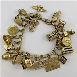 14K Yellow GOLD CHARM BRACELET with 23 Charms B6