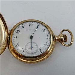 Lambert Bros POCKET WATCH Gold filled case, engraved Castle on outside of inner cover C5