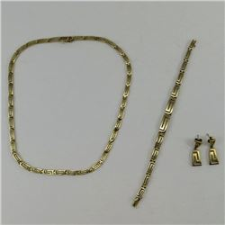 14K Yellow GOLD SET: Necklace, Bracelet, Earrings  All pieces marked 585 C6