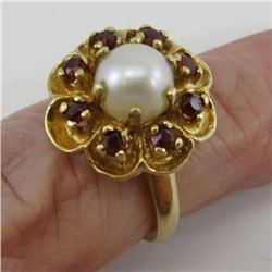 14K Yellow GOLD RING with Pearl, Garnets D2