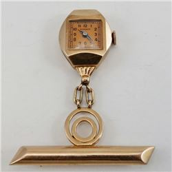 Marmon Swiss WATCH BROOCH / Watch Pin with 14K Rose GOLD Art Deco Case D3