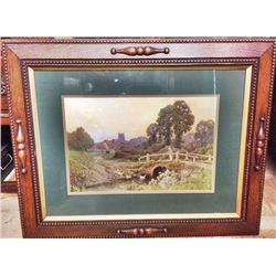 Solid OAK FRAME w Countryside Print English