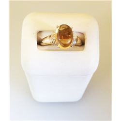 14K Yellow GOLD RING with Cabachon 8x10mm Oval CITRINE & Ten Full Cut DIAMONDS 200-313
