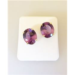 Millenium Faceted Oval AMETHYST EARRINGS in 14K Yellow GOLD 210-102