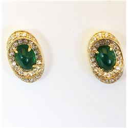 "Natural Cabachon Oval EMERALD EARRINGS set in 18K Yellow GOLD w ""Fine"" DIAMONDS 210-464"