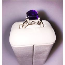 14K White GOLD RING w Pyramid Shaped Cabachon AMETHYST 200-498