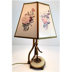 Rembrandt TABLE LAMP with Shade; Bronze Onyx Base; Art Noveau