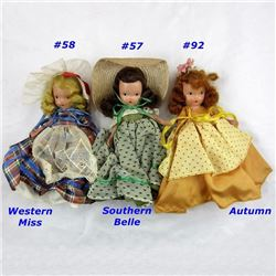 Lot (3pc) NANCY ANN DOLLS Southern Belle,  Western Miss, Autumn with original costumes Nos 57, 58, 9