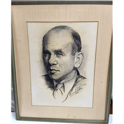 "MORRIS KALLEM Self Portrait CHARCOAL 1936 Framed 25.25"" x 20.5"""