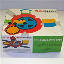 Vintage RAILROAD ROUNDHOUSE Toy CHILD GUIDANCE #353 BOX & Product Sheet