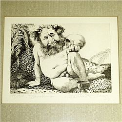 "CHARLES BRAGG Matted & Framed LTD EDition Print ""BACCHUS"" Signed & Numbered 144/150"