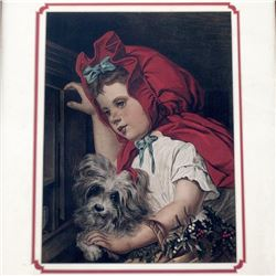 Marie CORNELISSEN Antique Print LITTLE RED RIDING HOOD Framed Chromolithographic 1882