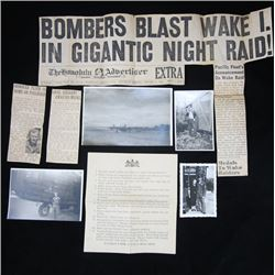 Lot (7pcs) WWII EPHEMERA Photograph News Clipping Sergeant Bad Penny Bomber WAKE ISLAND Raid HAWAII