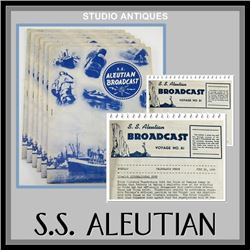 Lot (6 pcs) S.S. ALEUTIAN BROADCAST Boat Cruise Ship ALASKA STEAMSHIP COMPANY Bulletins 1939 MAGAZIN