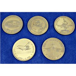 Lot (7 pcs) SPACE COINS/MEDALLIONS LOT 5x Columbia Shuttle 2x ROCKETDYNE/ROCKWELL APOLLO 8