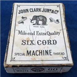 JOHN CLARK JUNIOR & CO Antique SEWING THREAD BOX Mile End Scotland ELEPHANT Late 19th century