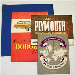 Lot (4 pcs) 1952 PLYMOUTH DODGE Posters SKYLARK Brochure CAR AUTO