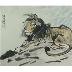 WC Lion Painting Framed Xu Beihong 1895-1953