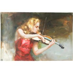 Chinese Oil Painting on Canvas Girl Playing Violin
